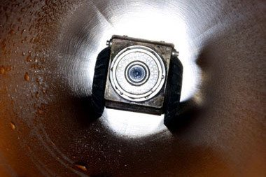 high-tech camera in a drain to diagnose the problem